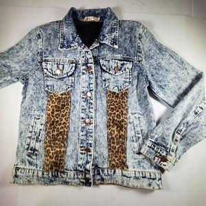36 point 5 Jean Jacket with Leopard Detail, Sz Sm